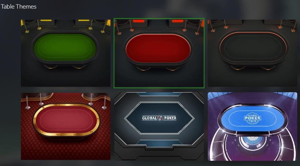 global poker's customizable table themes