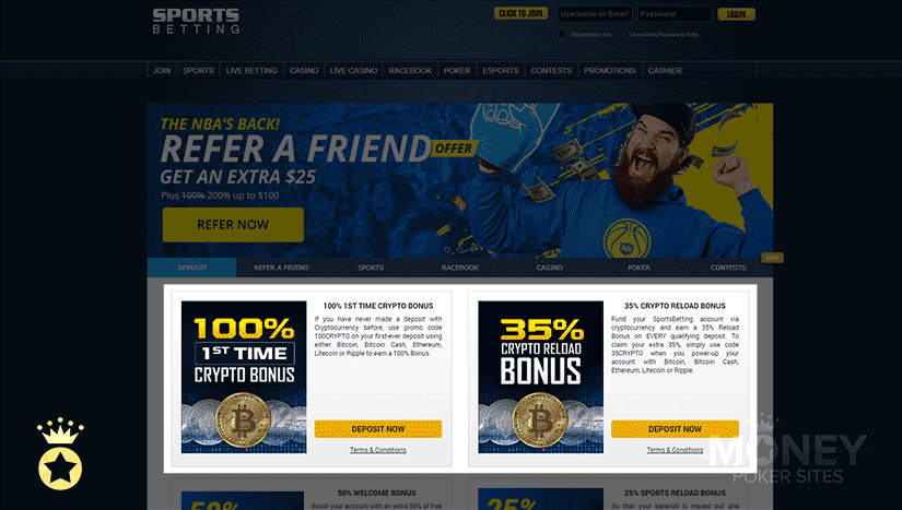 image of cryptocurrency poker site sportsbetting